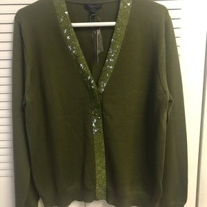 J. Crew olive green cardigan with green sequins